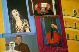 Balkonmusik, Acryl auf Leinwand, 80X100, 2021